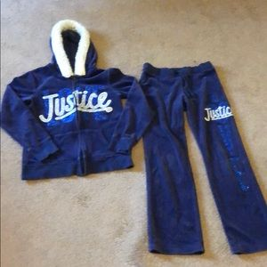 Royal Blue 2-pc JUSTICE Hooded Sweatsuit, size 10